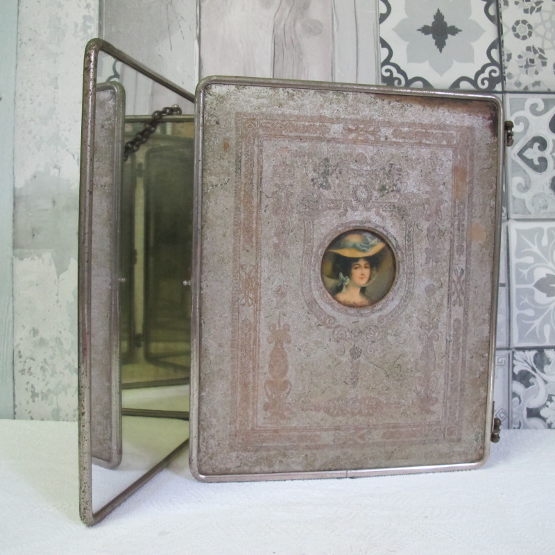 miroir triptyque ancien miroir barbier vintage les. Black Bedroom Furniture Sets. Home Design Ideas