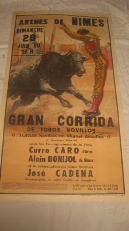 Affiche publicitaire corrida année 1980