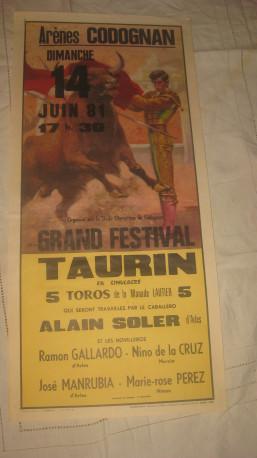 Affiche publicitaire corrida année 1981