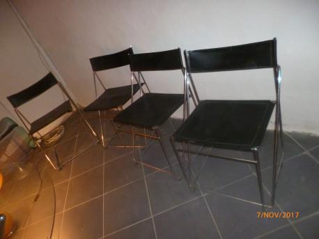 4 chaises cuir chromees style marc sauze1970
