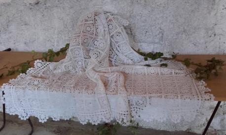 magnifique Courtepointe en coton au crochet ** ANCIEN **