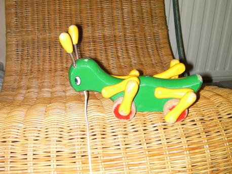 jouet en bois escargot ancien