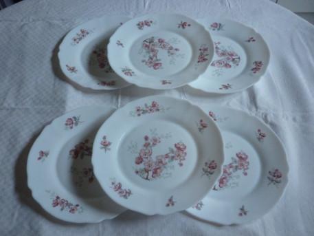 6 assiettes plate arcopal decor fleurs rose