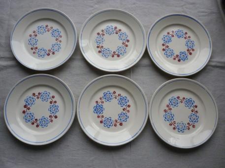 6 assiettes plate Badonviller modele bagatelle vintage