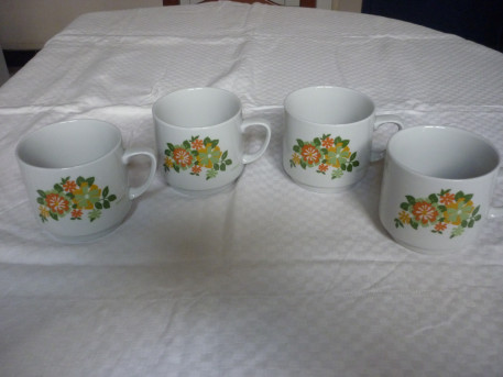 4 grosses tasses vintage fleurs ceramique italienne