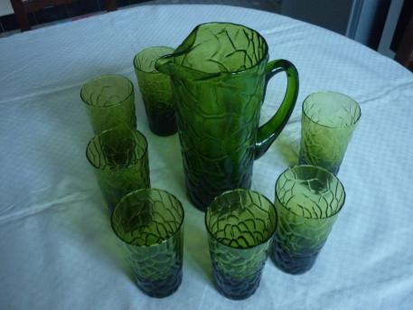 Service a orangeade broc+8 verres vert vintage