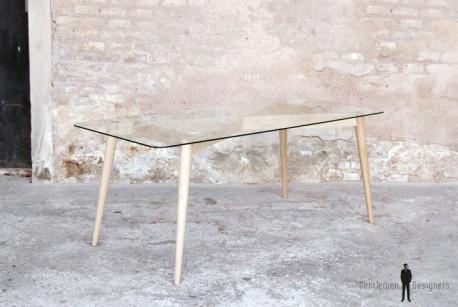 Table repas plateau verre, pieds chêne scandinave