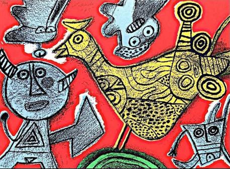 Lithographie ORIGINAL Signée de Corneille - Songe du diable - 380/999