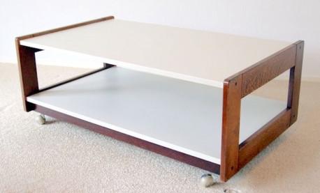 Table Basse Vintage rectangulaire Wenge et blanc