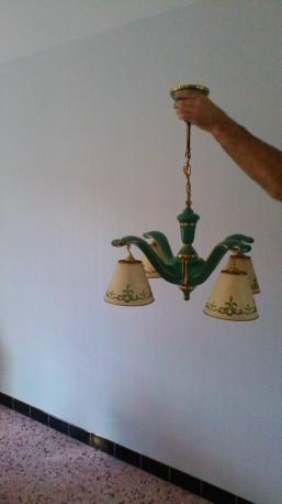 Lampe vintage 4 bras porcelaine abat jour papier