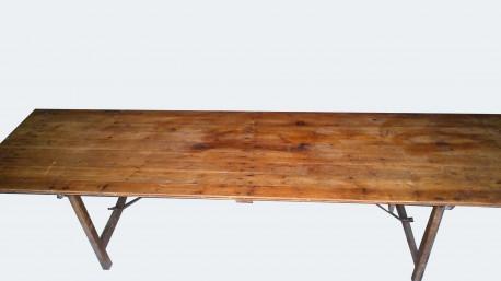 Table de ferme pliante métal et bois