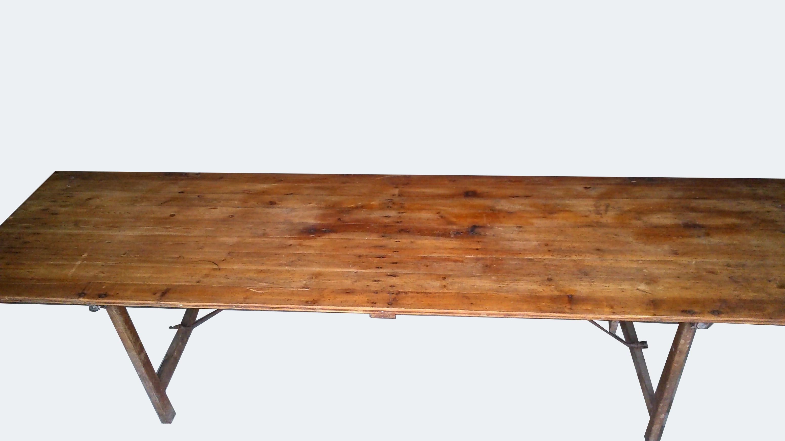 Table De Ferme Pliante Metal Et Bois Vintage Les Vieilles Choses