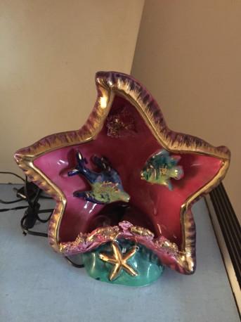 Lampe coquillage kitsch Vallauris vintage