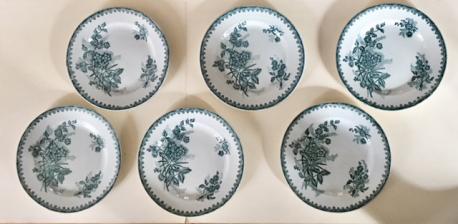 Série de six assiettes plates vintage