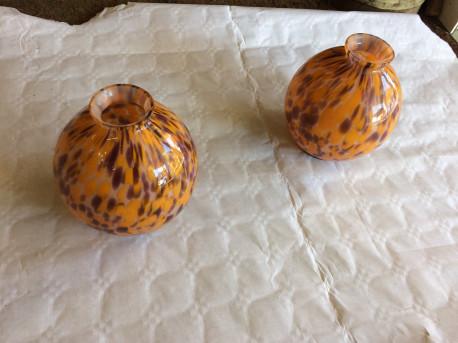 Paire de Vase Boule en pâte de verre