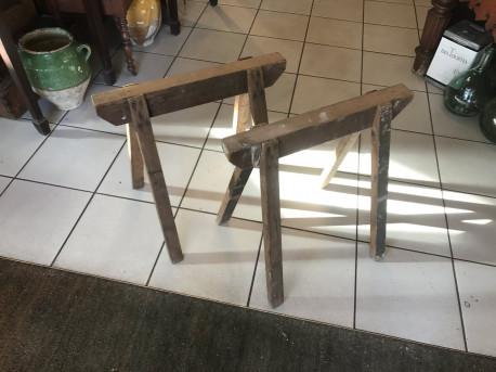 Paire de tréteaux bois