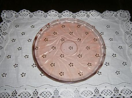 Plateau creux en verre rose