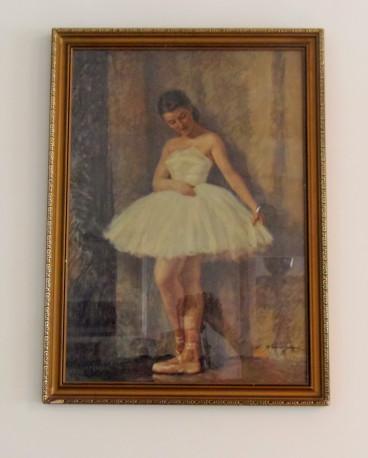 Tableaux danseuse classique avec cadre en bois