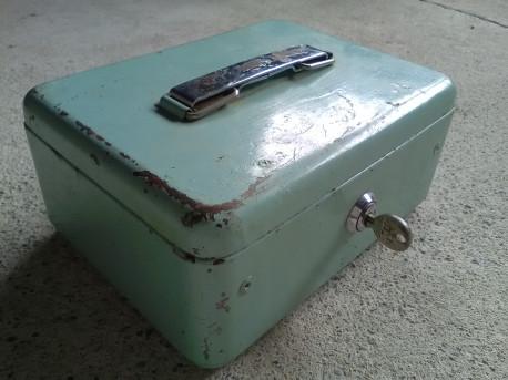BOITE metal CAISSE MONNAIE argent clé SIMPLEX ancienne VINTAGE BOX poignée Dim. 21 x 16 x 10 cm Poids 1,357 kg