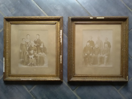 CADRES Paire doré ANCIENS photographie vitres