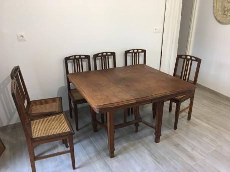 TAble année 1940 avec rallonge et 6 chaises (vintage)