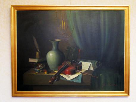 Huile sur toile P. CHIRAN nature morte thème musique
