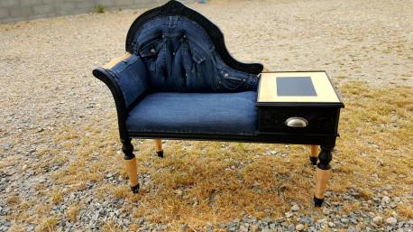 Banquette telephone relooké jean recyclé vintage