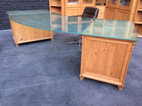 Bureau caissons bois et plateau de verre
