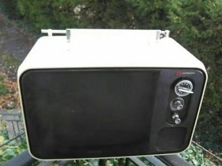 Téléviseur HITACHI vintage transistor tv f-54m années 70 made in Japan
