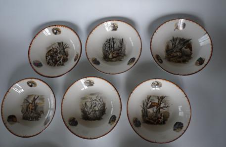 Assiettes écuelles décor chasse faience limcolor