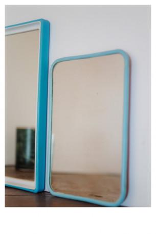 TRio miroirs barbiers bleu vert plastique années 60 vintage