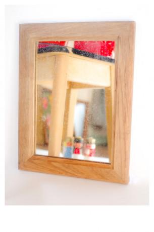 Ancien miroir bois chêne années 50