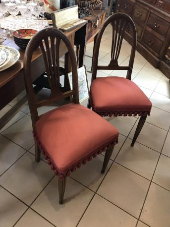 Paire de chaise de chambre dossier Lyre