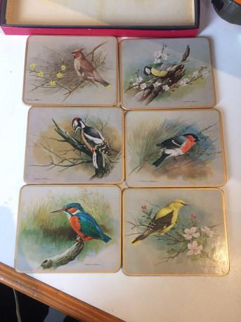 6 dessous de verre vintage thème oiseaux