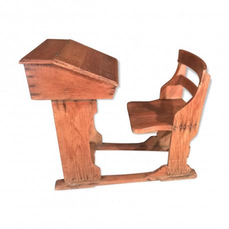 Pupitre-chaise d'écolier en tek ancien