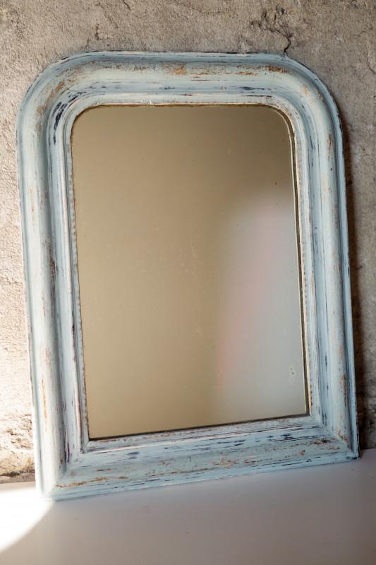 miroir vintage style louis philippe entourage bois bleu les vieilles choses. Black Bedroom Furniture Sets. Home Design Ideas