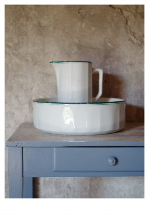 Ensemble toilette vasque + broc ancien vintage blanc