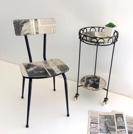 Chaise Formica Noir et blanc