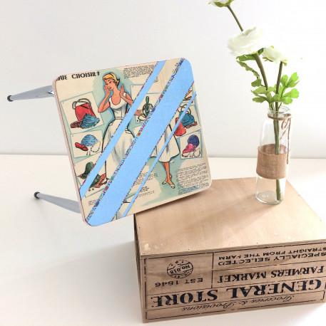 Tabouret Formica bleu vintage
