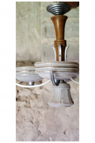 suspension luminaire vintage ann es 20 verre bois art d co les vieilles choses. Black Bedroom Furniture Sets. Home Design Ideas