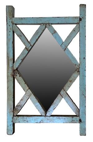 Claustras en tek avec miroir ancien