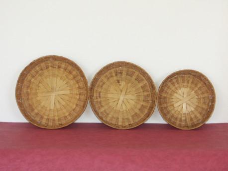 Corbeilles gigogne en rotin, lot de 3 pièces - Vintage