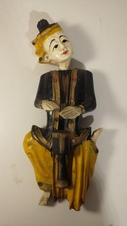 Statuette en bois peint polychrome musicien Thaïlande