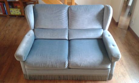 Canapé velours bleu vintage