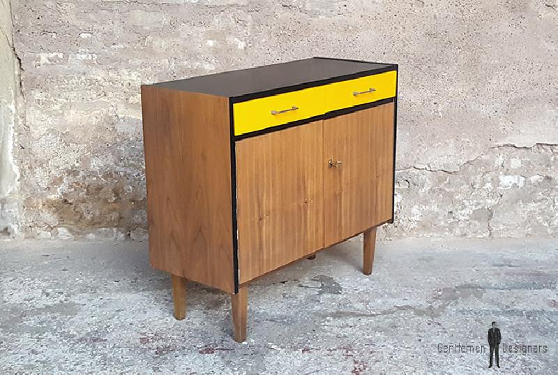 meuble 2 portes 2 tiroirs vintage noyer relook noir. Black Bedroom Furniture Sets. Home Design Ideas