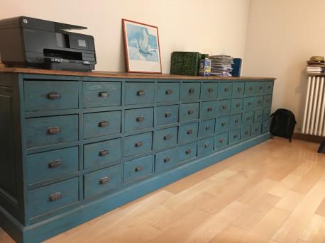 meuble industriel 48 tirroirs anee 1950 renove