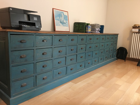 Meuble industriel 48 tirroirs an 39 ee 1950 renove les vieilles choses - Restauration meuble industriel ...