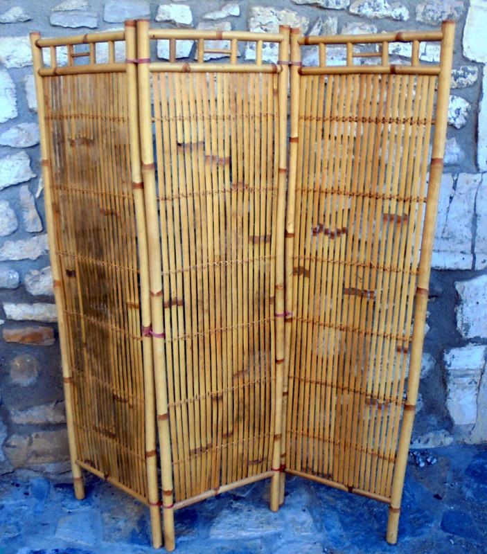 paravent 3 panneaux en bambou vintage les vieilles choses. Black Bedroom Furniture Sets. Home Design Ideas