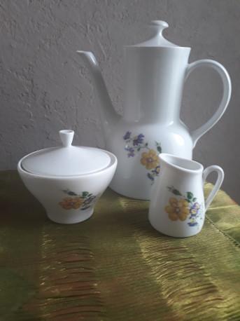 Cafetière, pot lait et sucrier - porcelaine de Baviere - ambiance vintage