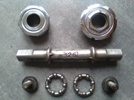 BOITIER pedalier nervar 35x1 acier 126 chromé complet vintage BOTTOM BRACKET old Poids 326 g Photos supplémentaires sur sim